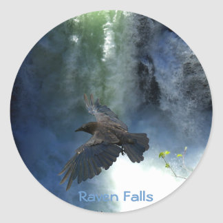 RAVEN & WATER FALL Nature Gifts Round Stickers