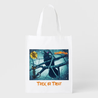 Raven Witch Trick or Treat Halloween goody bag Reusable Grocery Bag