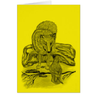 Raven with wolf black yellow Design Card