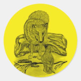 Raven with wolf black yellow Design Classic Round Sticker