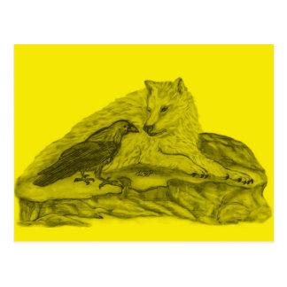 Raven with wolf black yellow Design Postcard