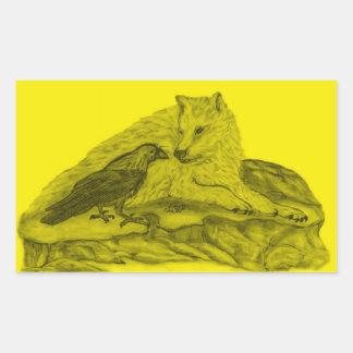 Raven with wolf black yellow Design Rectangular Sticker