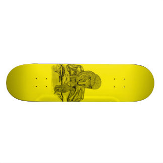 Raven with wolf black yellow Design Skate Board Deck