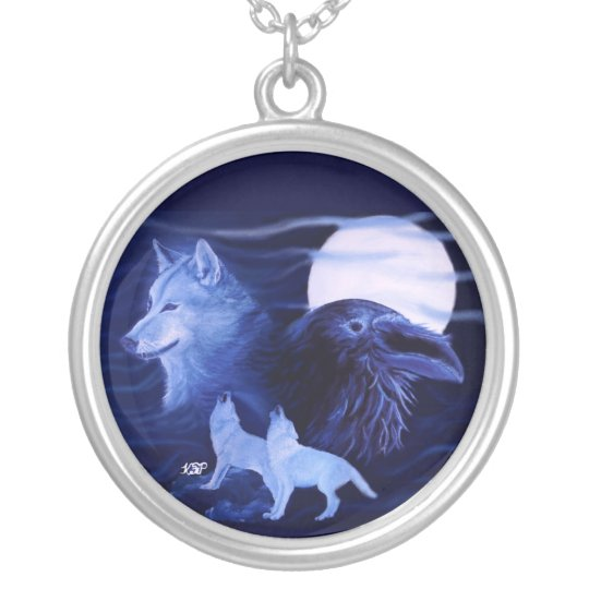 Raven with wolf silver plated necklace