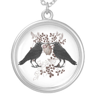 Ravenes and Heart Silver Plated Necklace