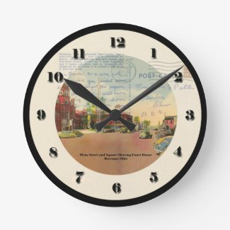 Ravenna Ohio Post Card Clock