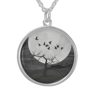 Ravens Against the Full Moon Sterling Silver Necklace