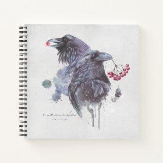 Ravens Berries Watercolor Splash Background Notebook