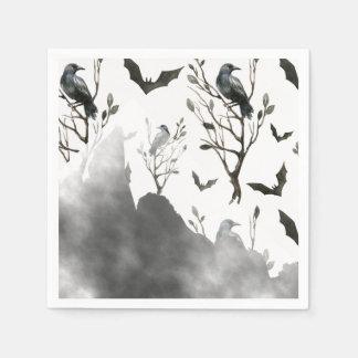 Ravens Clouds of Black and Fog Halloween Napkin