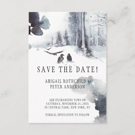 Ravens Crows Winter Woodland Scene Save The Date