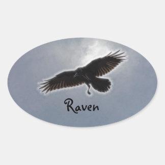 Raven's Descent Fractal Print Oval Sticker