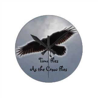 Raven's Descent Fractal Print Round Clock