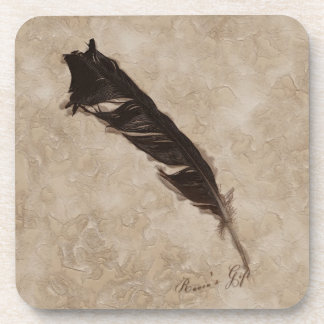 Raven's Feather Bird-lover Crow design Drink Coaster