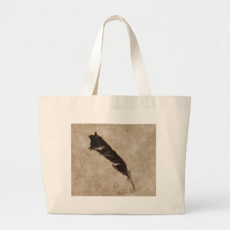 Raven's Feather Bird-lover Crow design Large Tote Bag