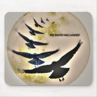 Ravens Flying Over The Moon Mousepads