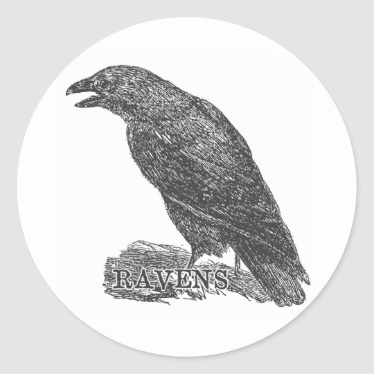 Ravens Gear from a Bygone Day Classic Round Sticker