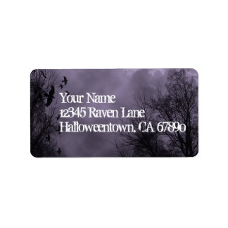 Ravens Haunted Sky Purple Mist Custom Address Label