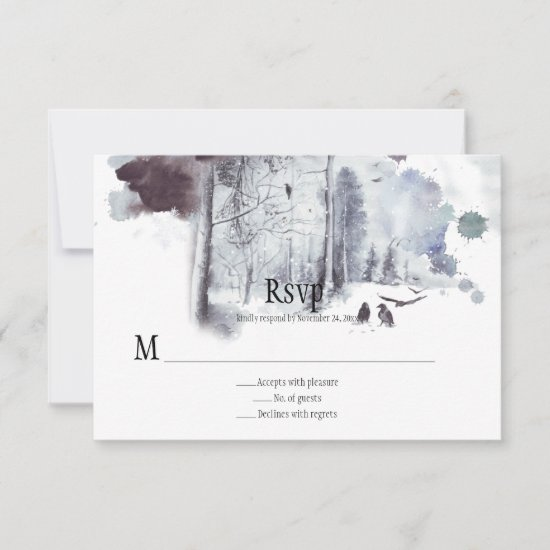 Ravens in Snow Covered Forest Wedding RSVP