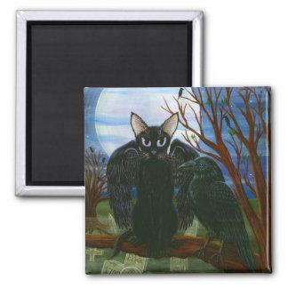 Raven's Moon Black Cat Crow Gothic Art Magnet