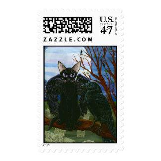 Raven's Moon Black Cat Crow Gothic Art Postage