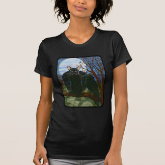 Raven's Moon Black Cat Crow Gothic Fantasy T-Shirt