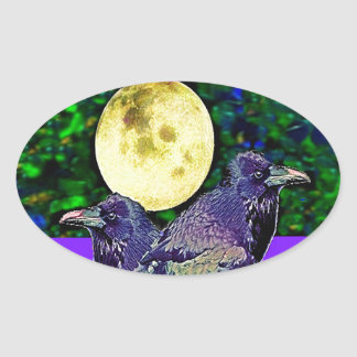 Raven's Moon Magic Gifts By Sharles Oval Sticker