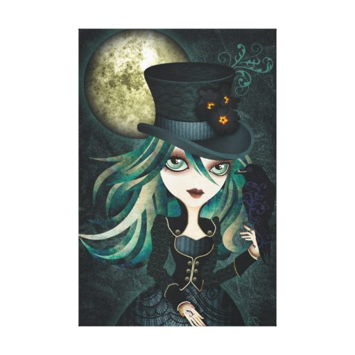 Raven's Moon Wrapped Canvas Wall Art Stretched Canvas Prints