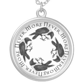 Ravens Never More Round Pendant Necklace