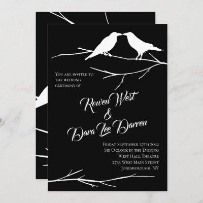 Ravens on Black Sky Gothic Wedding Invitations