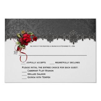 Ravens Red Roses Gray Black Damask RSVP Card