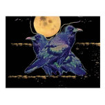 Ravens Spooky Moon by Sharles Post Card