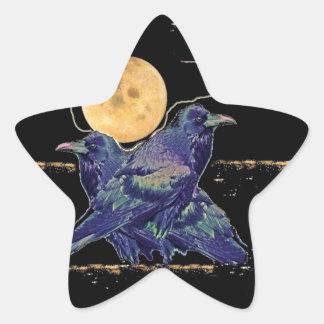 Ravens Spooky Moon by Sharles Star Sticker