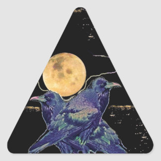 Ravens Spooky Moon by Sharles Triangle Sticker
