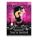 "Raver Girl Dancing DJ 5"" X 7"" Invitation Card"
