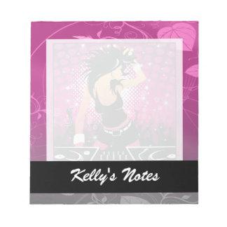 Raver Girl Dancing DJ Notepad