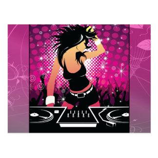 Raver Girl Dancing DJ Postcard