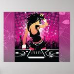 Raver Girl Dancing DJ Print