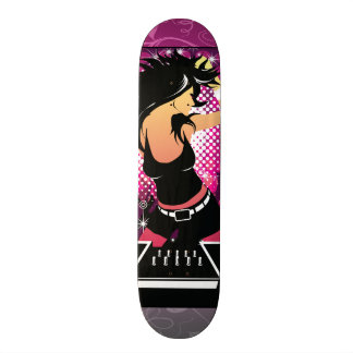 Raver Girl Dancing DJ Skateboard