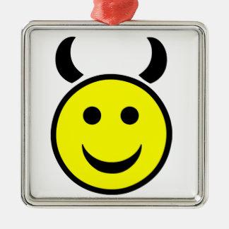 Raver Smiley Face Metal Ornament