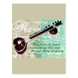 Ravi Shankar Tribute To Sitar and Indian Music Postcard