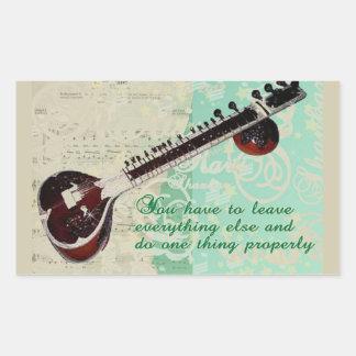 Ravi Shankar Tribute To Sitar and Indian Music Rectangular Sticker