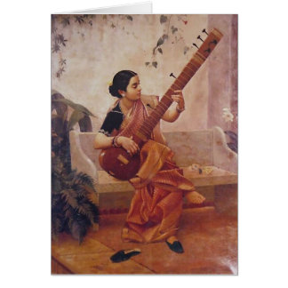 Ravi Varma Paintings-Lady With the sitarThis Card