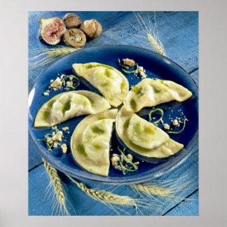 Ravioles con el d'Auvergne de Bleu para el uso en  Impresiones