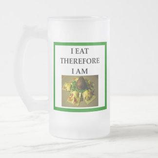 ravioli frosted glass beer mug