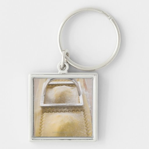 Ravioli with pastry cutter, close up keychain