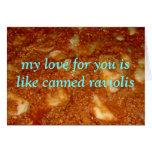 raviolis conservados románticos felicitación