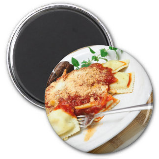 Raviolis y albóndigas imán redondo 5 cm