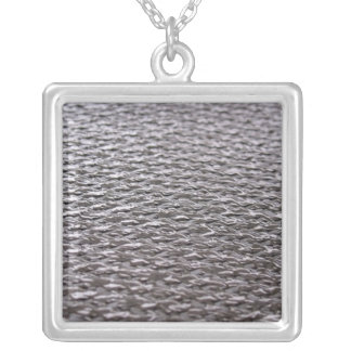 Raw Carbon Fiber Textured Square Pendant Necklace
