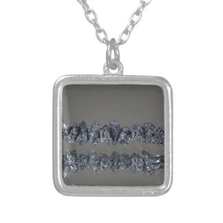 Raw Carbonados black diamonds Silver Plated Necklace