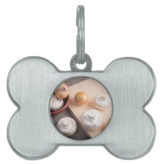Raw champignon mushrooms and onions pet tag